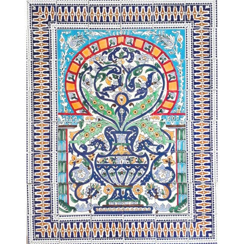 Arabesque Multicolor Design 48 Tiles Ceramic Mosaic Wall Mural Panel