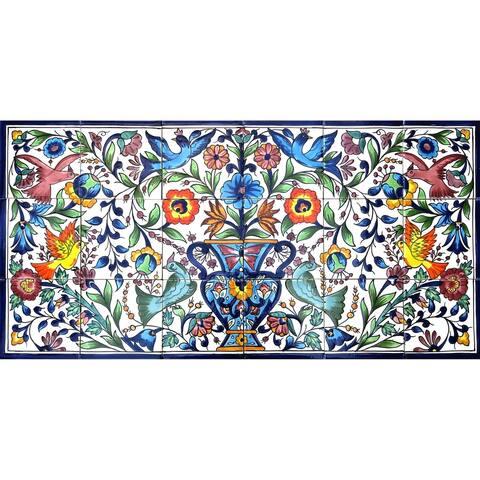 Floral Birds Landscape 18 Tiles Ceramic Tiles Mosaic Wall Mural Panel