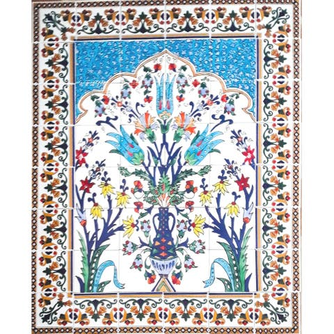 Floral Multicolor Design 48 Tiles Ceramic Mosaic Wall Mural Panel