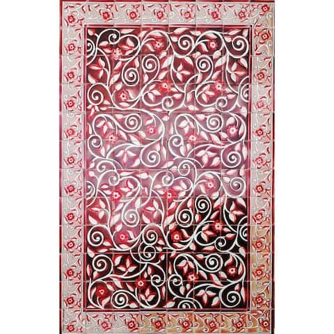 Red Arabesque Ceramic 96 Tiles Mosaic Wall Mural Panel