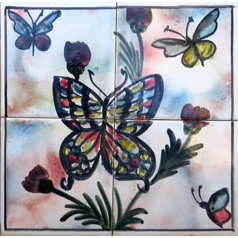 Butterfly Ceramic Tiles 4 Tiles Mosaic Wall Mural Panel