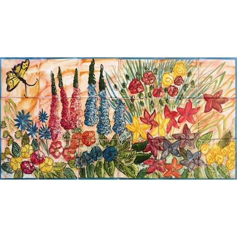 Floral Wall Ceramic 18 Tiles Mosaic Mural Panel