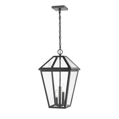 Talbot 3 Light Outdoor Chain Mount Ceiling Fixture in Black