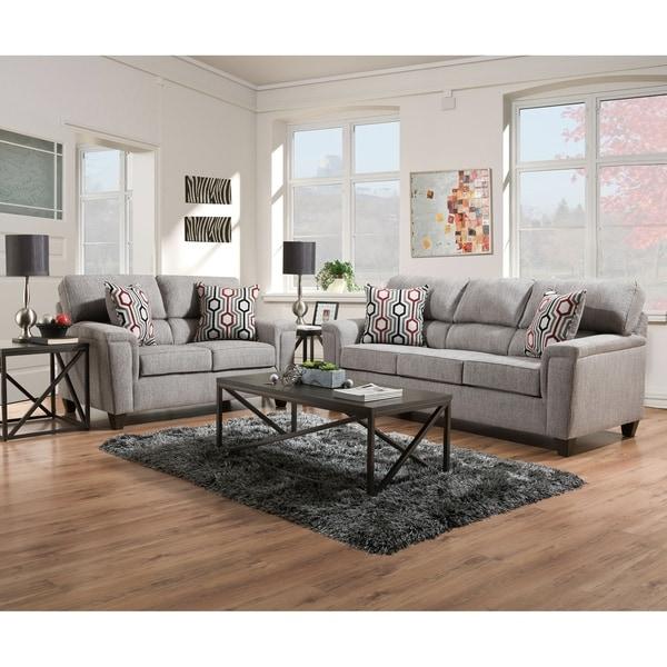 Koy Fabric Sofa and Loveseat Set with Toss Pillows