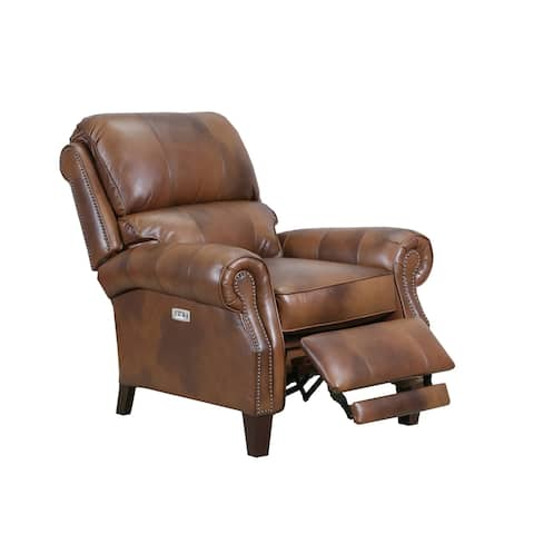 Monida Top Grain Leather Power Recliner with USB Charging Port