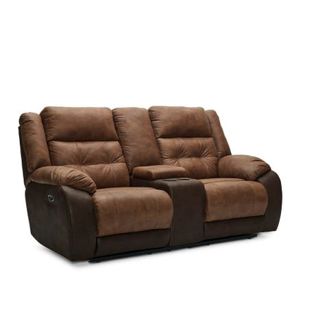 Arco Faux Leather Power Loveseat Recliner with USB Charging Port