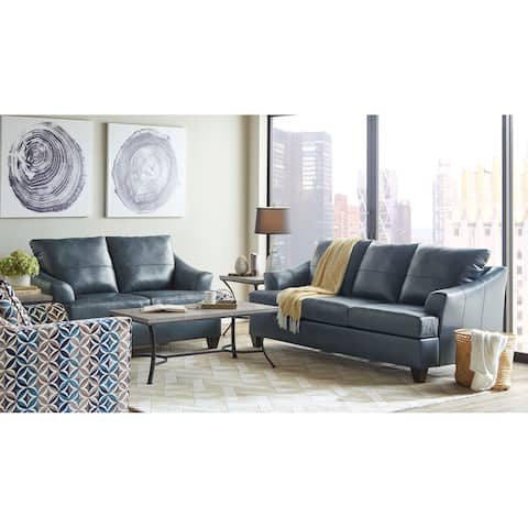 Copper Grove Benner Top Grain Leather Sofa and Loveseat Set