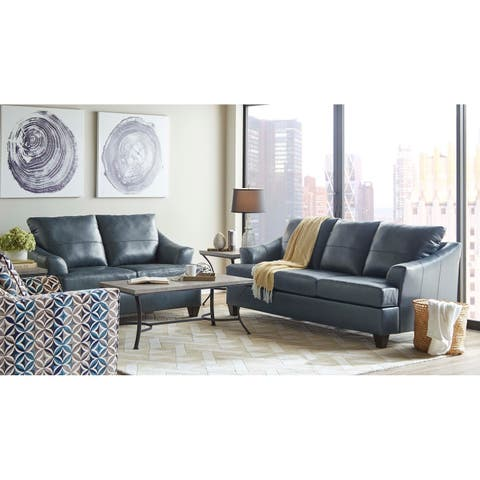 Judith Top Grain Leather Sofa and Loveseat Set