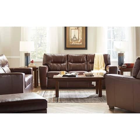 Garnet Top Grain Leather Sofa and Loveseat Set