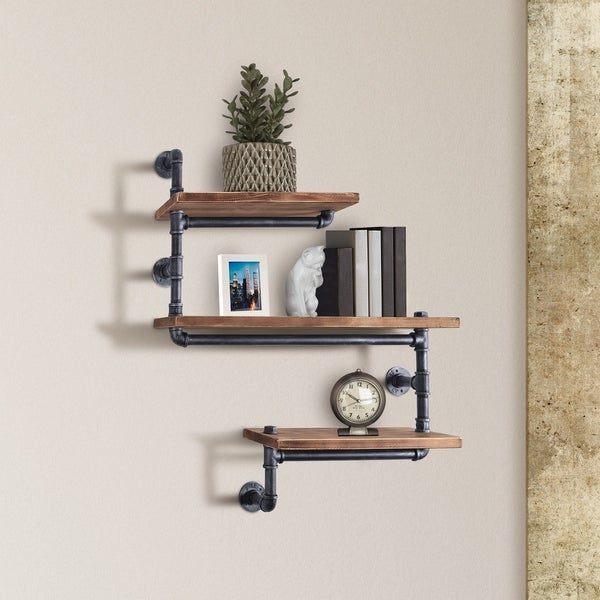 Panama Industrial Floating Silver Brushed Gray Pipe Wall Shelf with Walnut Wood
