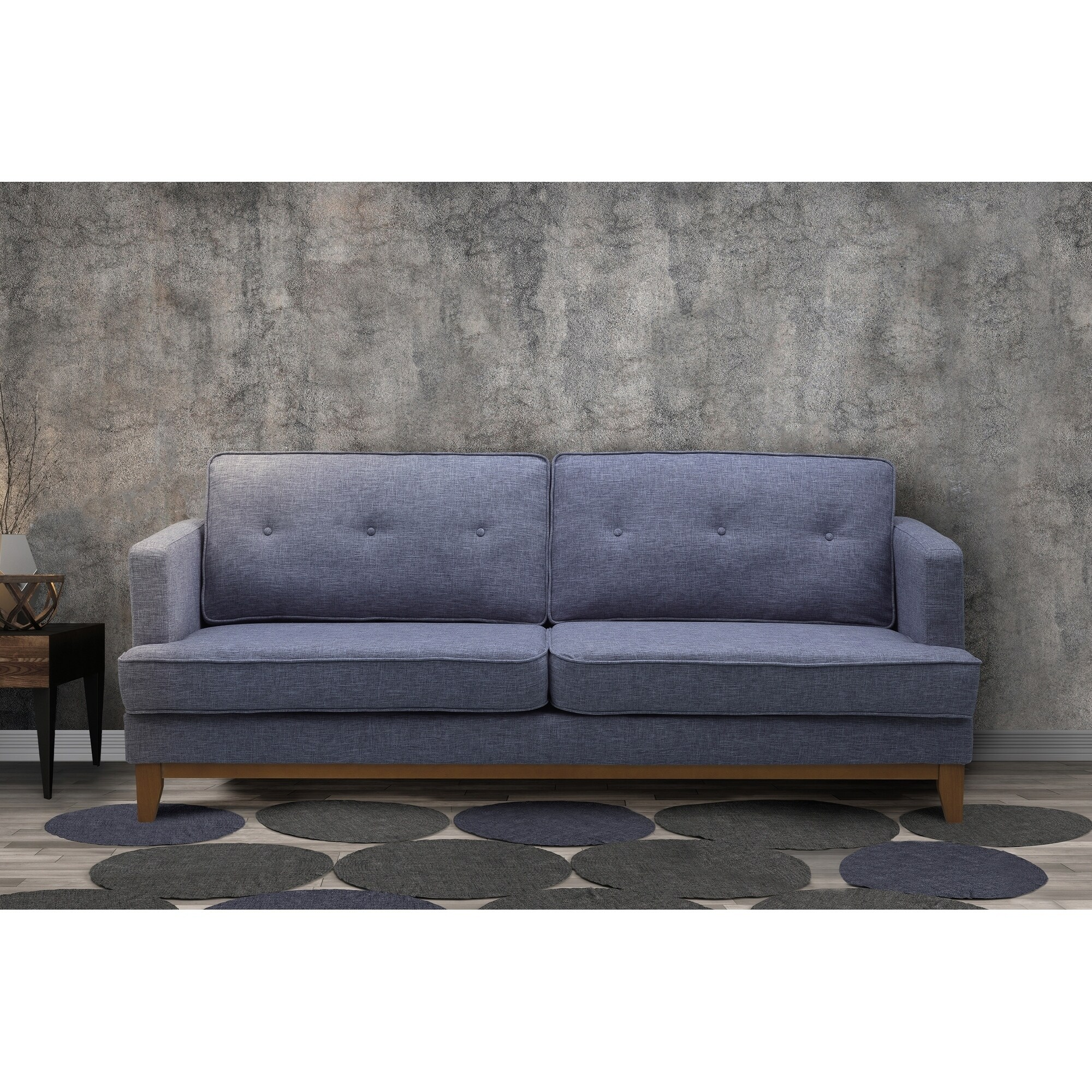 Coronado Mid Century Tufted Sofa In Champagne Finish With Washed Gray Fabric
