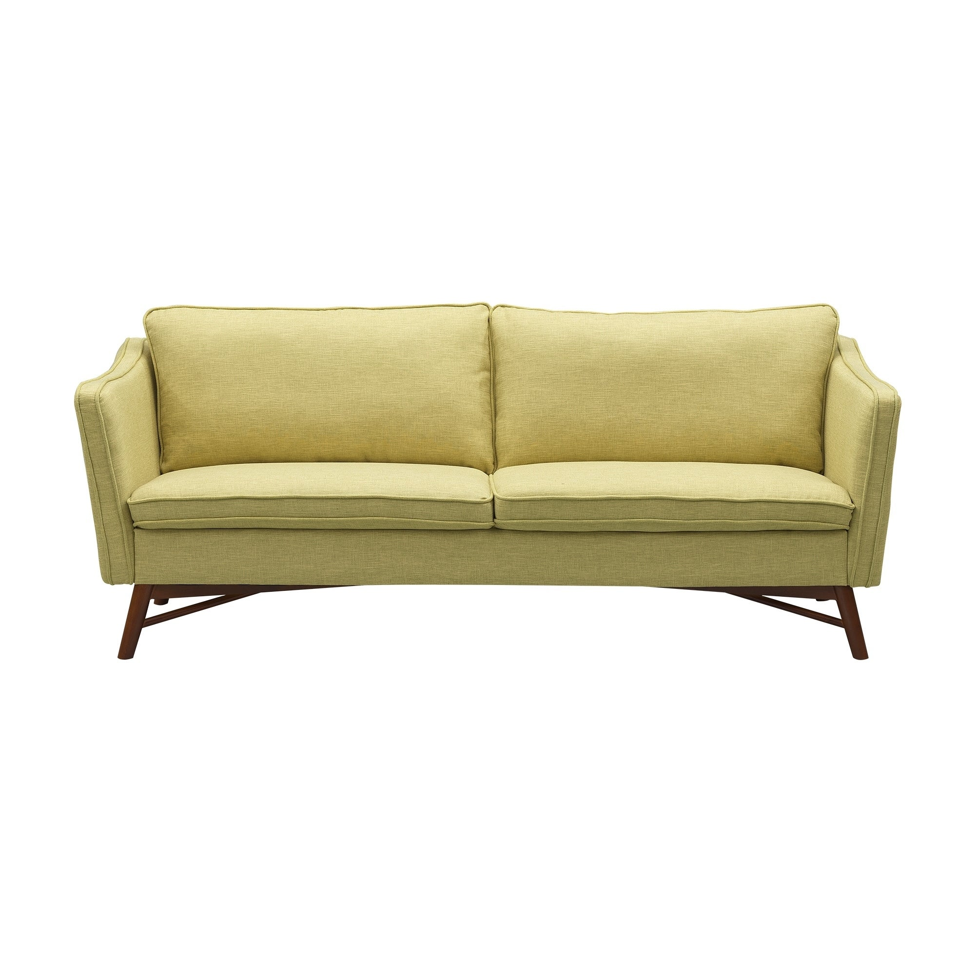 Peachy Cabriole Mid Century Sofa In Walnut Finish With Light Green Fabric Ncnpc Chair Design For Home Ncnpcorg