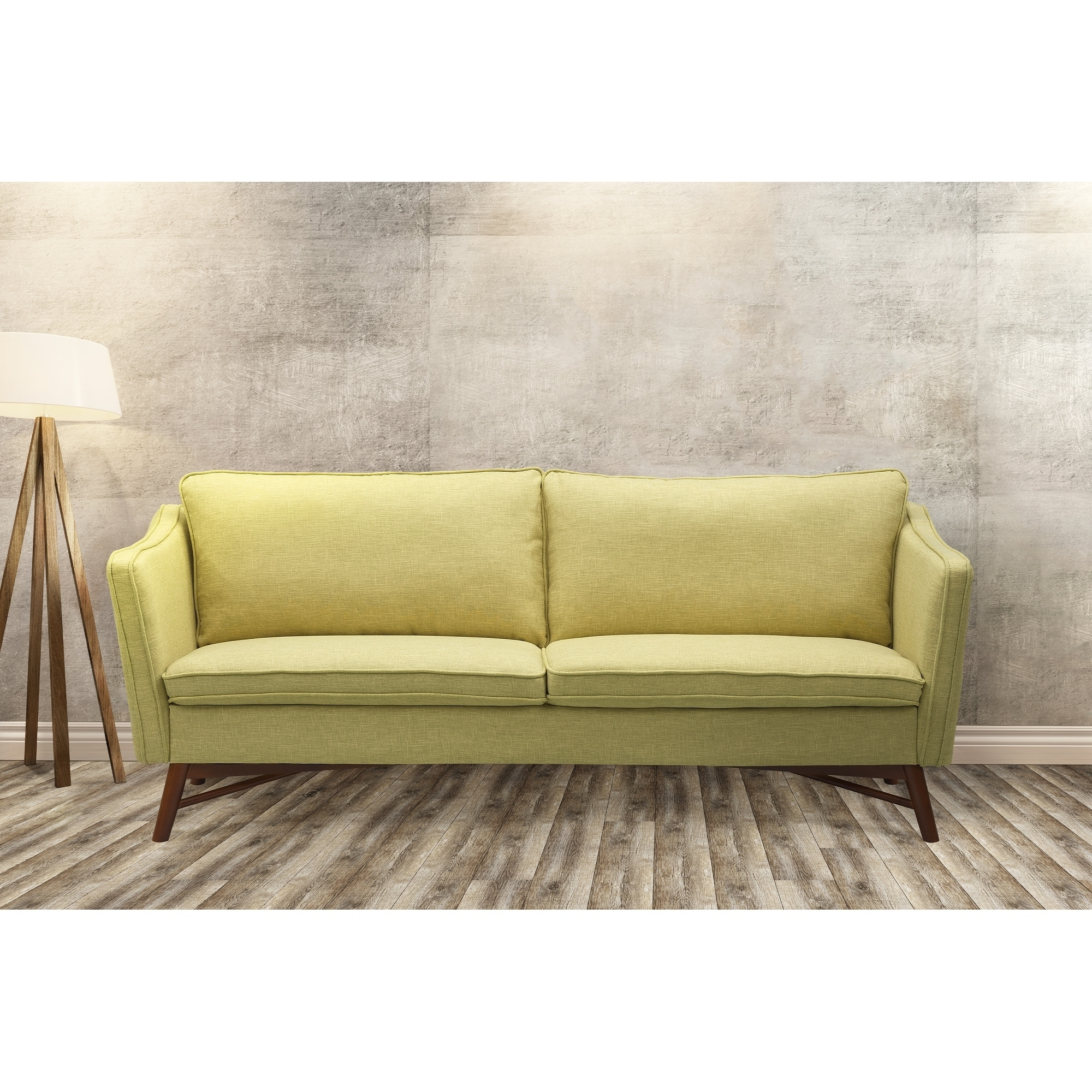 Excellent Cabriole Mid Century Sofa In Walnut Finish With Light Green Fabric Ncnpc Chair Design For Home Ncnpcorg
