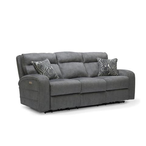 Warren Power Sofa Recliner with USB Charging Port and Toss Pillows