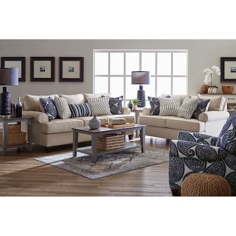 Stanley Fabric Sofa and Loveseat Set with Toss Pillows