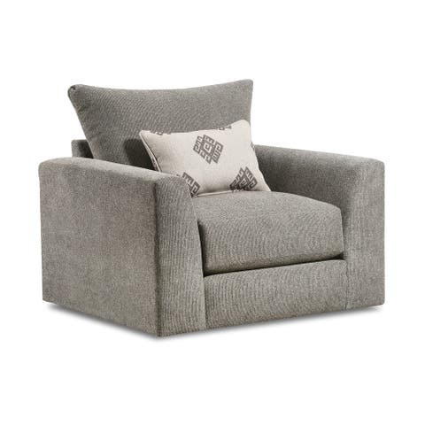 Moden Fabric Swivel Armchair with Toss Pillow