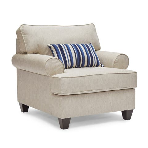 Stanley Fabric Arm Chair with Accent Toss Pillows
