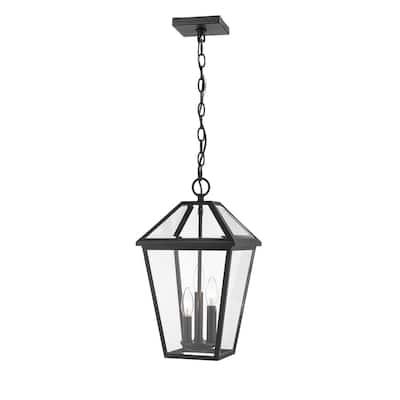 Abaura 3-light Outdoor Black Hanging Lantern by Havenside Home