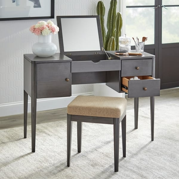 Cool Shop Lifestorey Parc Vanity Desk And Stool Set On Sale Gmtry Best Dining Table And Chair Ideas Images Gmtryco