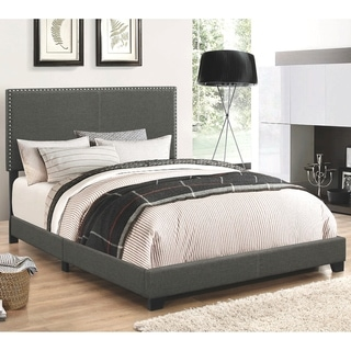 Link to Copper Grove Maracay Charcoal Upholstered Bed with Nailhead Trim Similar Items in Bedroom Furniture