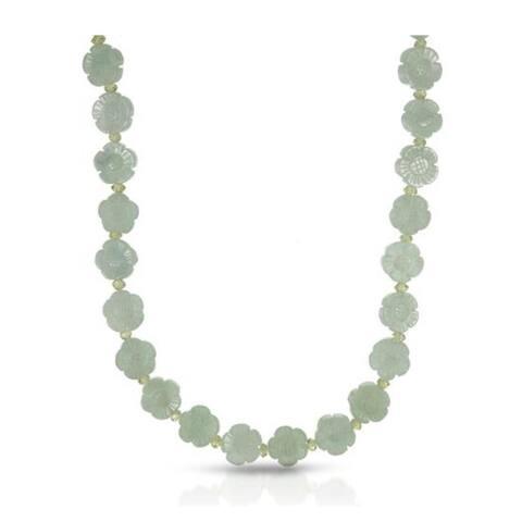 Pearl Lustre Genuine Green Jade Flower shape with Peridot gemstone in Silver lobster clasp.