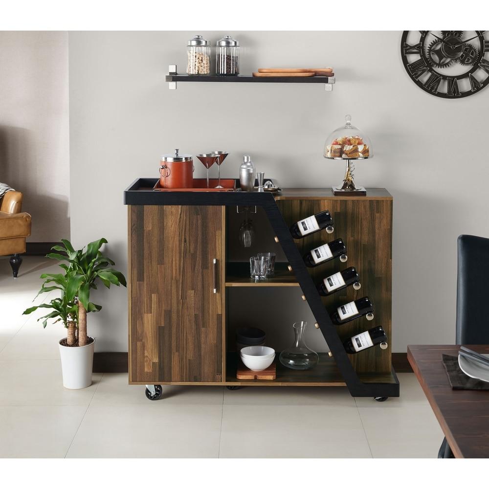 Furniture of America  Tern Modern Brown 5-Bottle Wine Cabinet (Light Hickory)
