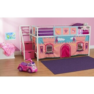 DHP Junior Metal Loft Bed with Storage Steps and Curtain Set