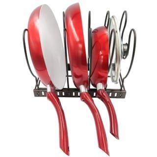 Evelots Pot/Pan/Lid Rack-Adjustable Widths-5 Divider-Powder Coated Carbon Steel