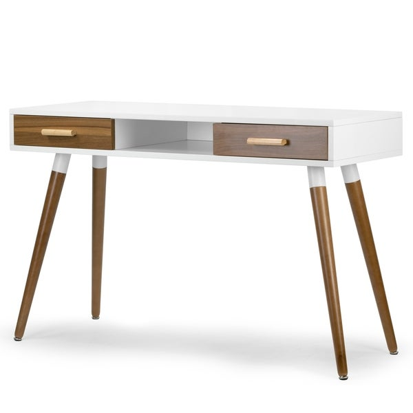 Ani White Writing Desk with Walnut Finish Drawers