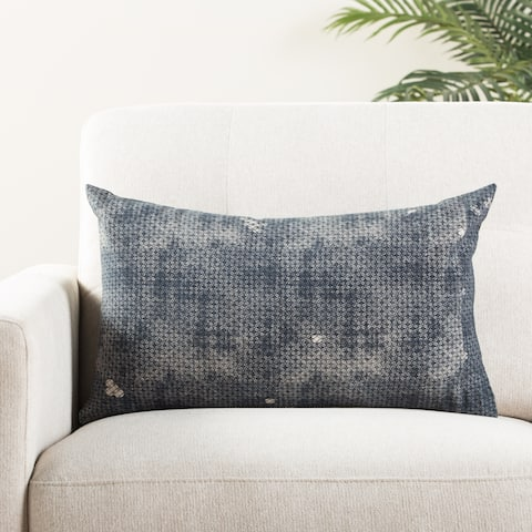 Marte Trellis Indigo/ Gray Throw Pillow