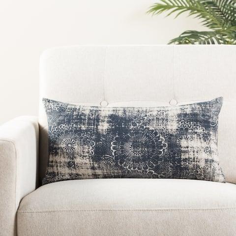 The Curated Nomad Otis Damask Indigo/ Grey Throw Pillow