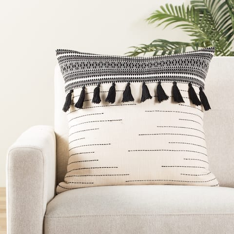 Amado Tribal Black/ Ivory Throw Pillow