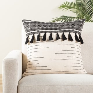 The Curated Nomad Otis Tribal Black/ Ivory Throw Pillow