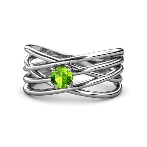 TriJewels Peridot Solitaire Criss Cross Promise Ring 0.50 ct 14KW Gold
