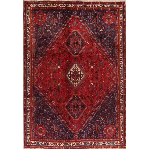 "Abadeh Vintage Oriental Tribal Hand Knotted Wool Persian Area Rug - 9'6"" x 6'7"""