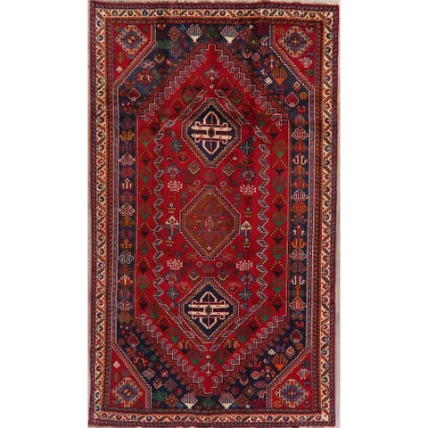 """Shiraz Oriental Tribal Hand Knotted Wool Traditional Persian Area Rug - 8'10"""" x 5'1"""""""