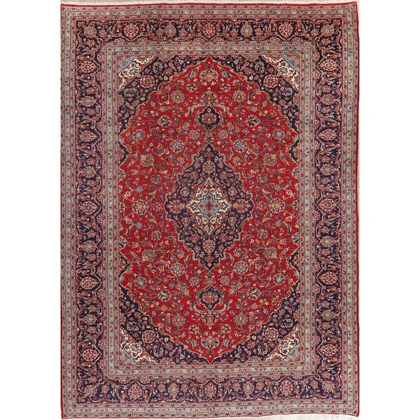 "Kashan Oriental Medallion Antique Hand Knotted Wool Persian Area Rug - 13'1"" x 9'7"""