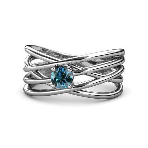 TriJewels Blue Diamond Solitaire Criss Cross Ring 0.50 ct 14KW Gold