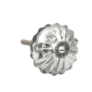 Silver Mercury Round Glass Distressed Knob Pull for Dresser, Drawer, Cabinet, Doors - Pack of 6