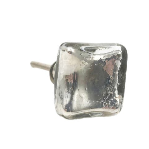 Silver Mercury Square Glass Crackle Knob Pulls for Dresser, Drawer, Cabinet, Door - Pack of 6