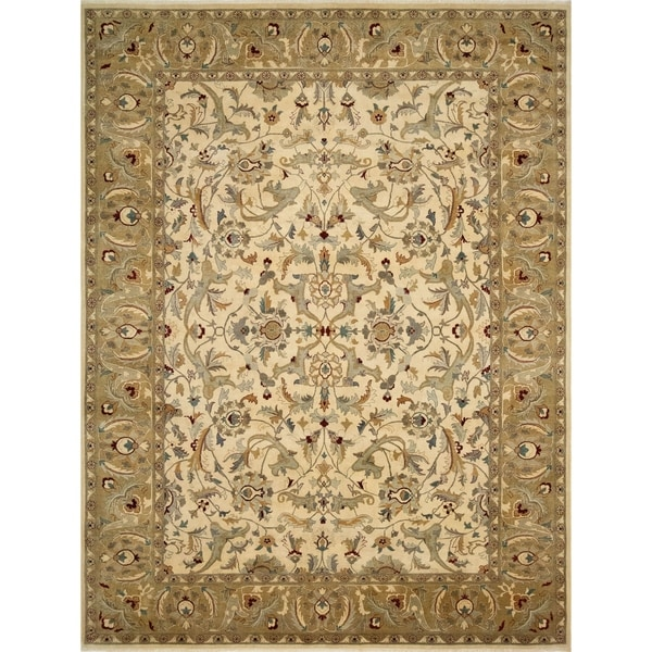 """Noori Rug Turkish-Knotted Cromwell Ivory/Green Rug - 9'0"""" x 11'9"""""""