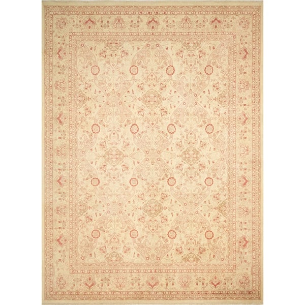 "Noori Rug Turkish-Knotted Gulbahar Ivory/Rusty-Red Rug - 9'0"" x 12'4"""