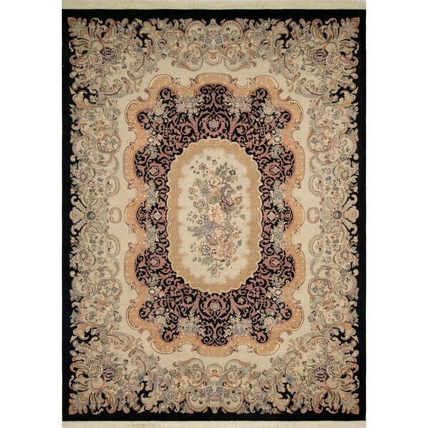 "Noori Rug Pak-Persian Zafar Black/Bone Grey Rug - 9'2"" x 12'5"""