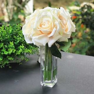 Enova Home  Open Rose Silk Flower in Clear Glass Vase with Faux Water For Home Decoration