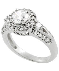 Journee Collection  High-polish Sterling Silver Round-cut Cubic-zirconia Ring - Thumbnail 1