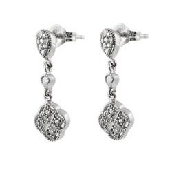 Journee Sterling Silver Dangling CZ Clover Earrings