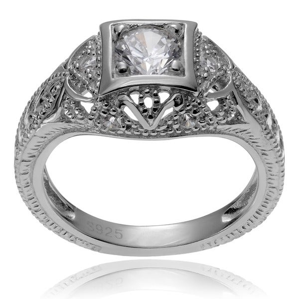 Journee Collection Sterling Silver Vintage Art Deco CZ Engagement Ring
