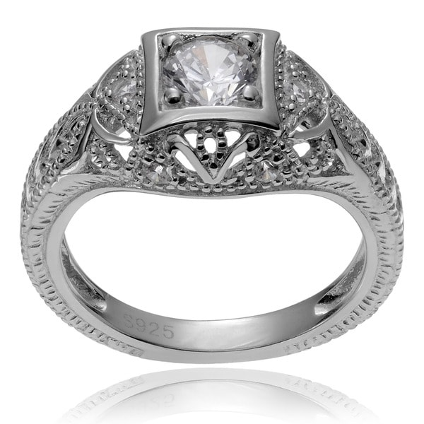 Journee Collection Sterling Silver Vintage Art Deco CZ Bridal and Engagement Ring