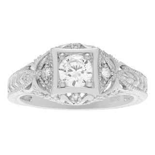 Journee Collection Sterling Silver Vintage Art Deco Cubic Zirconia Engagement Ring