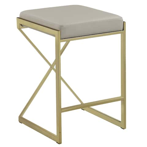 Contemporary Sleek Design Gold/ Taupe 25-inch Counter Height Stool - Counter Height